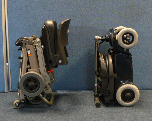 Profile of Luggie and Pack-a-Scoota portable mobility scooters